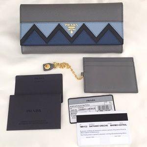 NWT PRADA Greca Flap Wallet, Grey/Blue